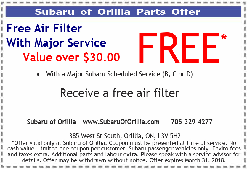 Free Air Filter Special